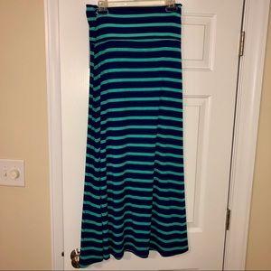 Mossimo Blue & Green Stripe Maxi Skirt M